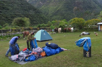 Packing up the tents in the early morning