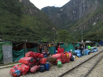 Baggage waiting to be loaded onto the train bound for Aguas Calientes