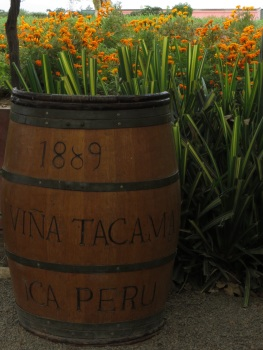 Old French oak barrel at Tacama vineyard