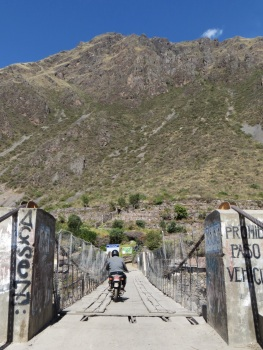 Motor bikes obviously don't count as vehicles on the Inca Bridge!