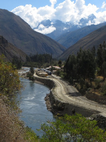 The river, the road and the railway heading towards Aguas Calientes