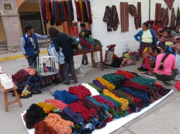 Dyed wool for sale at the Coffee Festival