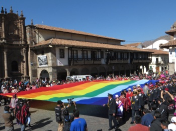 A very large Andean flag