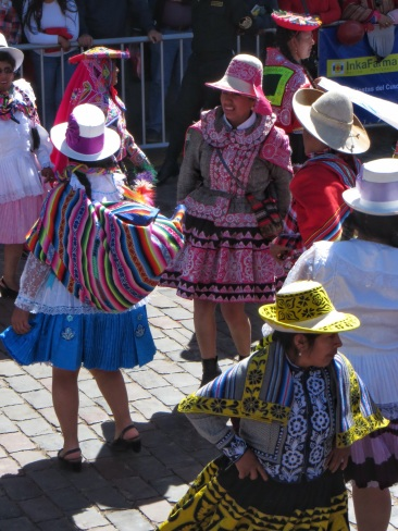 An array of hats and dresses