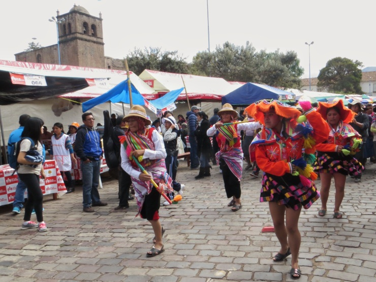 Dancers in the middle of the food stalls