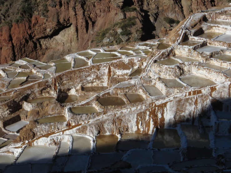 Salt beds cascading down the hillside