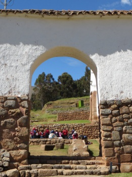 Women's meeting in the ruins at Chinchero