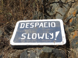 Someone with a sense of humour must have put this sign on the vertical cliff path!