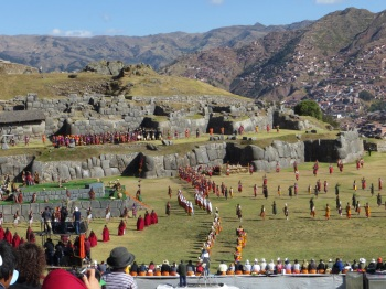 Ceremony in full swing at Sacsayhuaman