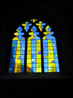 A modern stained glass window in the Cathedral