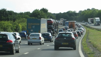 Friday afternoon motorway traffic at Winchester