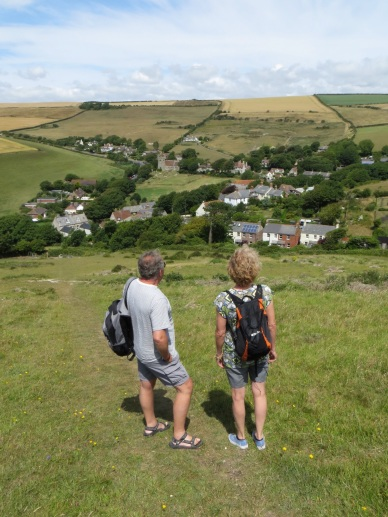 Admiring the view of Lulworth village