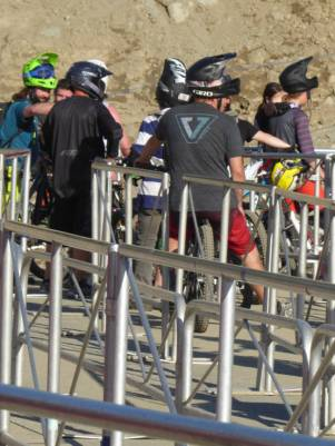 Mountain bikers queuing
