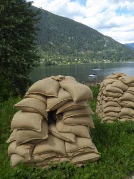 Piles of sandbags used in recent flooding