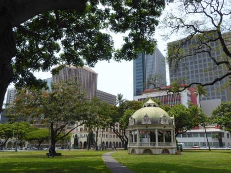 View towards the financial district from Iolani Palace