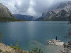 Lone fisherman on Lake Minnewanka