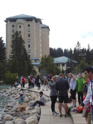 Swarms of people at Lake Louise