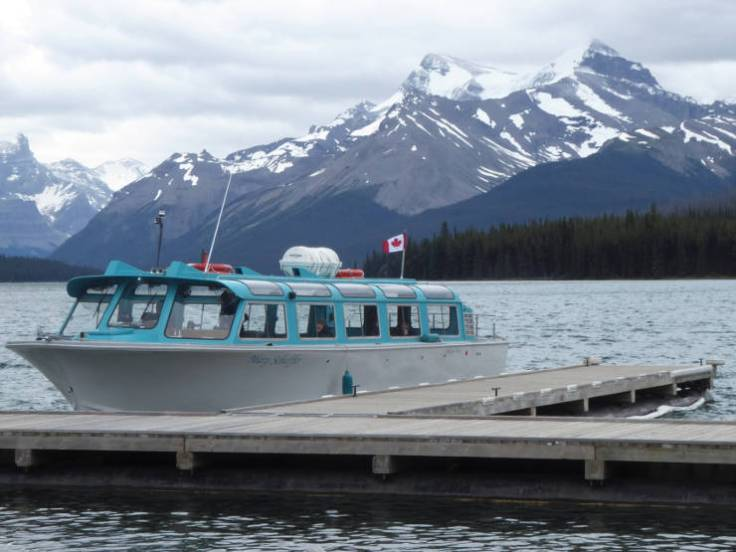 The boat on Maligne Lake