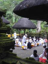 Prayers at a family temple in Luhur Batukaru