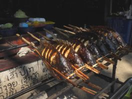 Barbecued fish is popular around Kwangsi waterfalls