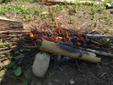 Eggs cooking in the bamboo