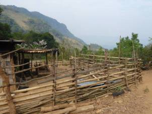 Fences keep the animals out in the hilltop village