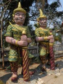 Ferocious statues at a temple