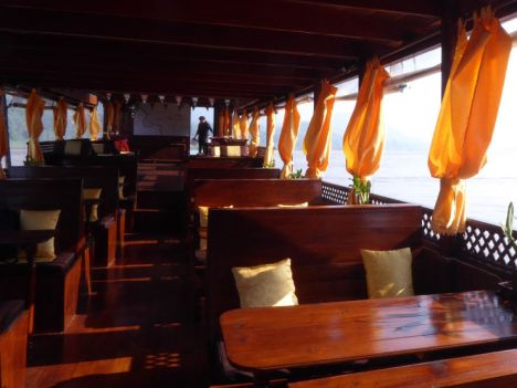 Inside the teak boat