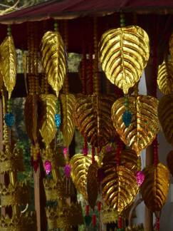 Gold leaf offerings found in many temples