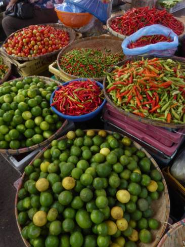Limes and chillis at the market