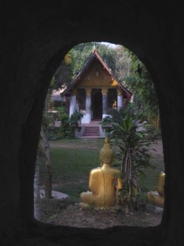 Looking out the small window of the meditation hall