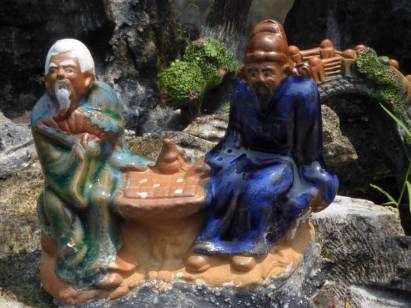 Figurines in a rock garden