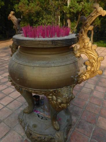 Incense burning at Tu Hieu Pagoda