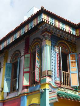 Corner of colourful building in Little India